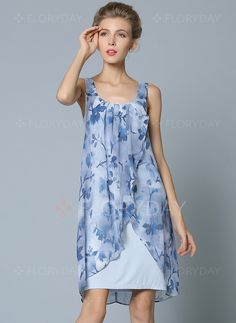 Dresses - $66.06 - Chiffon Floral Sleeveless Above Knee Elegant Dresses (1955103534)
