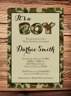 Camo baby boy shower invitation hunting by maryspartydesigns baby its a boy baby shower invitation camouflage boy invitation camo boy shower invitation filmwisefo