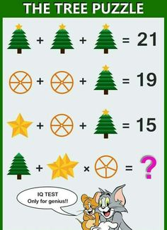Solve this latest logic math puzzle that will leave you scratching your head. fail to answer this puzzle. The Tree Puzzle, Math IQ Test - Only for genius brain teasers math puzzle with the correct answer. The Tree Puzzle solution! Math Puzzles Brain Teasers, Math Logic Puzzles, Rebus Puzzles, Mind Puzzles, Math Games, Fun Math, Math Riddles With Answers, Puzzles And Answers, Quiz With Answers