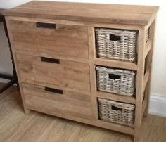 Reclaimed Teak Storage Unit with 3 Drawers plus 3 Natural Wicker Baskets