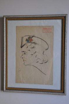 Vintage WWII Drawing French Nurse  Framed by FrenchArtAntiques