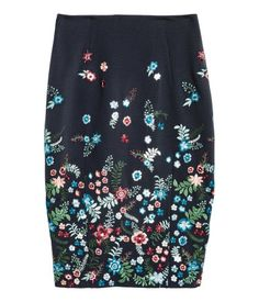 Pencil Skirt | Dark blue/floral | Ladies | H&M US