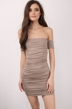 """Search """"Trina Taupe Bodycon Dress"""" on Tobi.com! off the shoulder strapless ruched ruching gathered tan nude beige short mini tight bodycon sexy juniors senior ball shop buy cheap inexpensive ideas chic fashion style fashionable stylish comfy simple chic"""