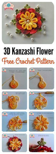 Crochet 3D Kanzashi Flower Free Pattern -
