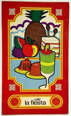 1970's Original Vintage Large Menu CAFE LA FIESTA - Fiesta Palace Mexico City
