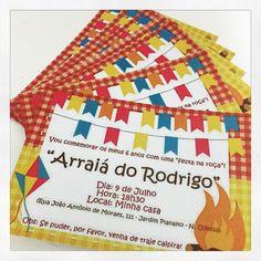 Convite do arraiá do Rodrigo, filho da Cibele no tema de festa junina! #convite #personalizados #ratchimbum #novaodessa