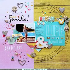 GOod morning Life is good with team member @adriennealvis and her amazing LO using our #august2015 kits  @pinkfreshstudio @simplestories_ @aflairforbuttons @shopfreckledfawn @americancrafts #dearlizzy #august2015 #scrapbooking #hipkits #hipkitclub #scrapbookkits