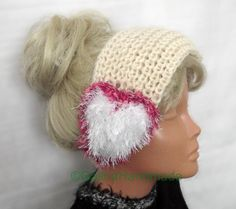 Wide Headband Hand Knitted With Hearts Pink by GalinaHandmade