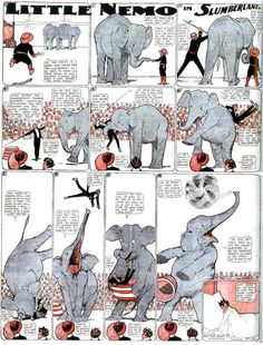 "The Comic Strip Library searchable database.  Here is a ""Little Nemo in Slumberland"" (1911) - a circus elephant revolts"