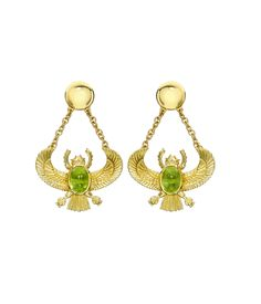 Theo Fennell - 18ct Gold  Peridot Winged Scarab Drop Earrings