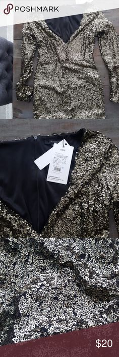 Gold mini, deep v neck, sequin dress Sexy, very sexy..but no way is it a size 8!!  It's an xxl on the Asian scale.  More like a small 6 in USA.  I am very sad to see this one go, but can't squeeze my butt into this. Haoduoyi Dresses Mini