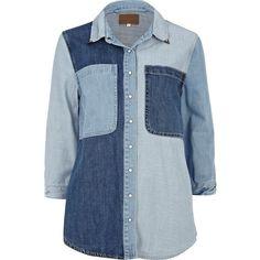 River Island Blue Patchwork Denim Shirt ($63) ❤ liked on Polyvore