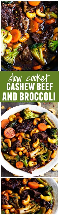 Slow Cooker Cashew Beef and Broccoli Stir Fry - Delicious melt in your mouth beef that cooks right in your slow cooker with veggies and cashews hidden throughout. This will be the BEST thing that you make!