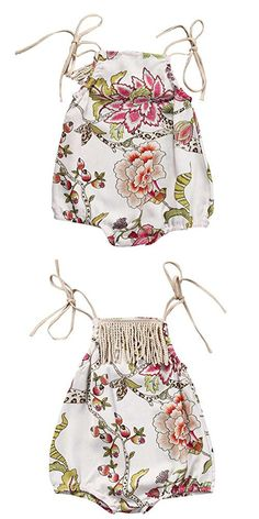 Weixinbuy Baby Girls Floral Tassel Romper One Piece Clothes Bodysuit Jumpsuit