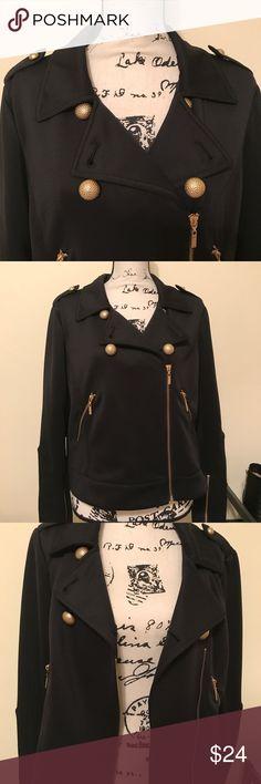 🔥🔥SALE🔥🔥BISOU BISOU BLACK MOTO JACKET BISOU BISOU BLACK WITH GOLD TONE HARDWARE. SIZE XL. EXCELLENT CONDITION.🍁🍂 Bisou Bisou Jackets & Coats Blazers