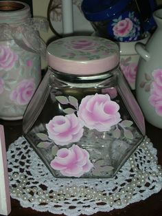 """CLEAR CANISTER PINK ROSES 6X3.25X6.5"""" ej hp shabby chic cottage hand painted oct #Unbranded #FrenchCountry"""