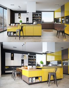 A black and white background allows the yellow kitchen island and cabinetry to stand boldly at center stage. #kitchen #yellow #bright