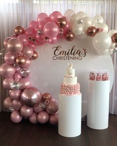Birthday Party Cake Table Decorations Ideas For 2019 Cake Table Decorations, Balloon Decorations Party, Balloon Garland, Balloon Ideas, Diy Event Decorations, 18 Birthday Party Decorations, Balloon Backdrop, Birthday Table, Girl Birthday