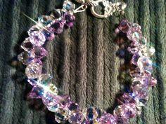 Genuine Swarovski Crystal Lilac and Crystal AB Rock Candy Bracelet...