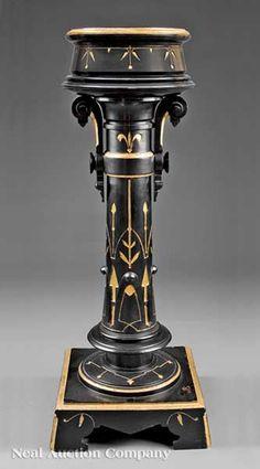 An American aesthetic movement ebonized pedestal, 1860 Victorian Furniture, Victorian Gothic, Antique Furniture, Painted Furniture, Furniture Design, Victorian Decor, Aesthetic Movement, Aesthetic Style, Antique Shelves