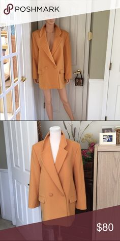PierBe international 💯wool/cashmere blazer/jacket This beautiful new wool 80% cashmere 20% jacket was bought in Germany, fully lined in acetate 60%, viscose 40%, the color is gold, double breasted, the sleeves have three buttons as accents, Good condition, Extra buttons included, found one small moth hole that I could see, as is, price reflective, no trade, no pp, smoke and pet free environment. Jacket only. PierBe Jackets & Coats Blazers