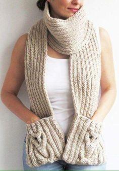 Stricken Ecru Owl Scarf With Pockets, Crochet Scarves, Crochet Shawl, Crochet Clothes, Hand Crochet, Knit Crochet, Knitting Blogs, Loom Knitting, Knitting Socks, Knitting Patterns