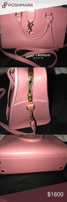 Saint Laurent handbag 💯 % Authentic SL bag.. very pretty light pink . Addition color.. for that yr.. it only 2 yrs old used only twice ... I accidentally hit corner when I get in to the car , the picture is up u can look.. but that about it .. everything else is excellent new.. offer are welcome.. pm will Authenticate it b4 it ship out to u.. L 10 H 8 W 5.5 .. Saint Laurent Bags Satchels