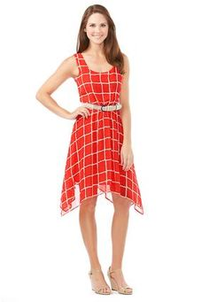 Catch someone's eye with this beautiful tapered red dress!  Cato Fashions  Asymmetrical Grid Sheer Layered Dress #CatoFashions