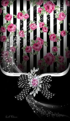 By Artist Unknown. Bling Wallpaper, Flowery Wallpaper, Phone Wallpaper Design, Luxury Wallpaper, Wallpaper For Your Phone, Cellphone Wallpaper, Wallpaper Backgrounds, Iphone Wallpaper, Cool Pictures For Wallpaper