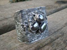 Gorgeous gray BRACELET natural black HEMATITE stone, gray bracelet, Statement, METALWORK, adjustable, handmade by AWillam