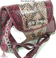 Jessica Simpson Purse Bag Cross Body Alligator Chain Shoulder Strap Red Pink NWT