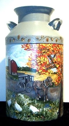 Hand-painted milk can