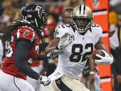 New Orleans Saints tight end Benjamin Watson (82) runs against Atlanta Falcons strong safety Kemal Ishmael (36) during the first half of an NFL football game, Thursday, Oct. 15, 2015, in New Orleans. (AP Photo/Gerald Herbert) -   New Orleans Saints beat Atlanta Falcons 31-21 on Thursday Night Football: Live updates recap | OregonLive.com