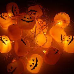 16 Pcs LED Halloween Pumpkin Hanging String Lights - ORANGE RED