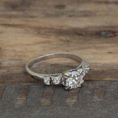 Vintage | Art Deco | 0.88ct Natural Diamond Platinum Engagement Ring | Size 7 1/4