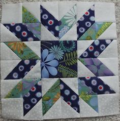 Great use of fabric texture.....fractured star #quilt block Love this block