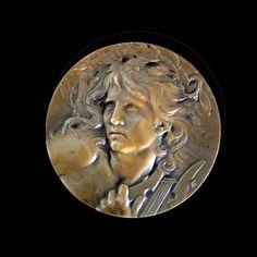 """Online veilinghuis Catawiki: Marie Alexandre Lucien Coudray, """"Orphée endort Cerbère aux sons de sa lyre"""" bronze medal"""