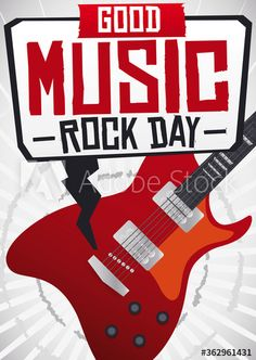 Guitar playing rock music and speech balloon inviting at you to experience the best of this music genre, during Rock Day. Best Rock Music, Speech Balloon, Music Genre, Good Music, Rock N Roll, Illustration, Bubbles, Guitar, Celebrities