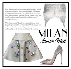 """""""silvery"""" by anjalisavlani ❤ liked on Polyvore featuring Delpozo, Boohoo and Christian Louboutin"""