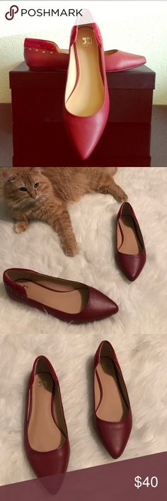 Joes studded red flats Other than wear on the bottoms, these are in perfect condition. All studs are in tact, the leather shows no wear and they are perfect to pull any outfit together. Size 7.5 Joe's Jeans Shoes Flats & Loafers