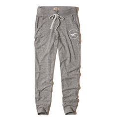 Hollister Logo Graphic Joggers ($20) ❤ liked on Polyvore featuring activewear, activewear pants, pants, bottoms and heather grey