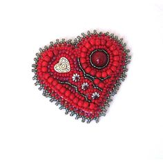 Red Heart brooch, Red bead embroidered brooch, Beaded brooch, Red... ($30) ❤ liked on Polyvore featuring jewelry, brooches, beading jewelry, embroidery jewelry, red brooch, embroidered jewelry and pin brooch