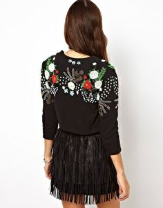 Image 2 of ASOS Cropped Jacket with Beaded Floral Embellishment