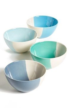 Gibson Half-Dipped Bowls (Set of available at colourful ceramics Ceramic Cafe, Ceramic Plates, Pottery Painting Designs, Pottery Designs, Pottery Bowls, Ceramic Pottery, Earthenware, Stoneware, Keramik Design