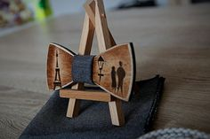 Wooden bow tie with inlay technique Paris. Tour Eiffel. 100% handmade. wood bow tie