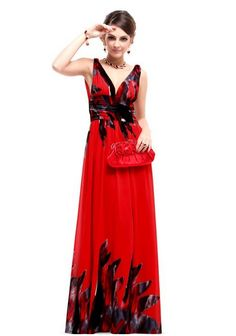 1e9139e8b3965 Ever Pretty V-neck Printed Chiffon Ruched Empire Line Maxi Party Dress  09641 2