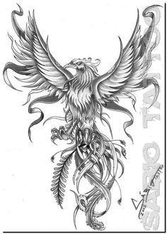 Tatuagem Fênix 3D 16