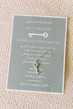 vintage key wedding invite