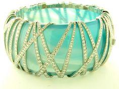Ashok Sancheti Designs by Ashok Sancheti dba Pioneer Gems New York, NY Natural blue Agate bangle featuring platinum and white Diamonds (18.73 ctw.).