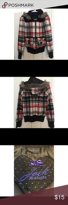 Jack By BB Dakota Coat Coat in a red, black and white plaid. Good used condition. Would look very festive for the upcoming holidays. Black sweater neck, cuffs and bottom. Hood is line with faux fur. Two front flap pockets with black buttons. Around neck in front and back is a black faux suede look. Comes from smoke and pet free home. Jack by BB Dakota Jackets & Coats